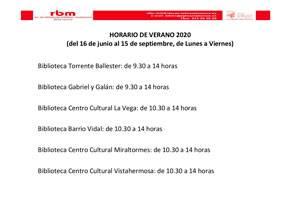 HORARIO DE VERANO EN LAS BIBLIOTECAS MUNICIPALES